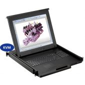"1U 19"" Rackmount Monitor, 104 Key Notebook Keyboard, Touchpad Mouse with 32 Port Matrix KVM Over IP Switch (Part#RM-147-19-Cat5M-IP232-4)"