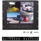 "9U 19"" Rackmount LCD Panel with Integrated Quad Split Screen (Part# RMP-161-19QD)"