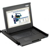 """1U 17"""" High Resolution Rackmount Monitor, 104 Key Notebook Keyboard, Touchpad Mouse with 16 Port Matrix KVM Over IP Switch (Part#RM-111-X17-MIP1624)"""